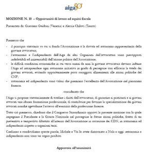 deliberato Aiga art. 39 rappresentanza forense n. 10 congresso perugia 24 09 2016